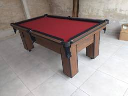 Mesa de Bilhar Charme Imbuia Tecido Vermelho Bordas Preta Modelo DSS9851