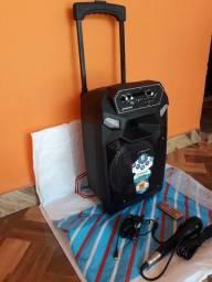 Caixa de Som Amplificada FRAN com Microfone  E Controle Nova Zerada