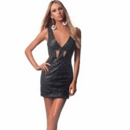 Vestido curto fabulous agilitá preto paetês foscos recortes