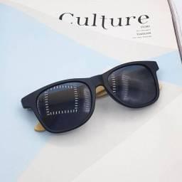 Óculos de sol com haste de madeira