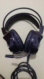 Headset Knup KP464 RGB 7.1 surround preto