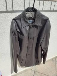 Jaqueta de couro marrom tabaco tamanho M em ótimo estado