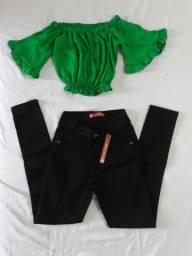 Cropped 20,00 e calça jeans 65,00