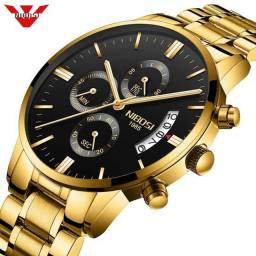 Relógio Nibosi Dourado Luxo Original + Ajustador De Pulseira
