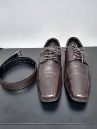 Sapato democrata couro legítimo + cinto