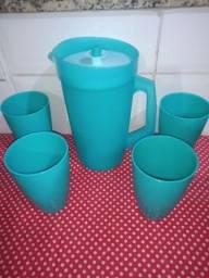 Kit Tupperware jarra com 4 copos azul