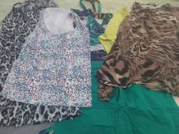 Lote de blusas, saias e vestidos