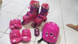 Patins Barbie rosa 4 rodas
