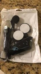 Fone e microfone para capacete