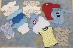 Lote com 16 bodys de bebê masculino