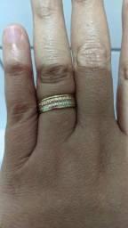 Aliança três tons de ouro 18 k
