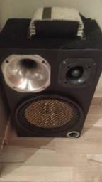 Caixa de som com módulo já , uma corneta e um alto falante de 12