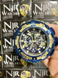 Relógio Invicta thunderbolt azul banhado skeleton