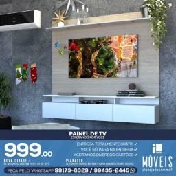 Painel de tv / Painel de tv cor madeirada e preto 100% MDF.