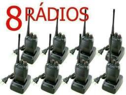 Kit 8 rádios comunicadores walk talk Baofeng