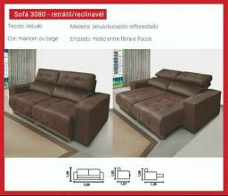 Sofá retrátil reclinável novo no plástico