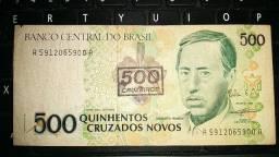 Cédula NCz$ 500 = Cr$ 500 (carimbo)