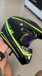 Capacete motocross Fillet + óculos (novo)