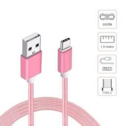 Cabo usb corda nylon ART 03 1.5mt conector Tipo C para Samsung, Motorola, Xiaomi