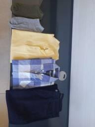 Roupas menino - calça jeans e camisa xadrez sem uso e camisa polo seminova