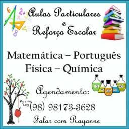 Aulas particulares, matemática, física, química