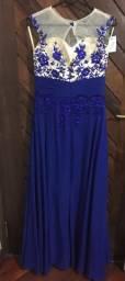 Vestido longo azul de festa / casamento, tamanho M