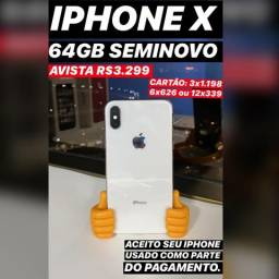 IPhone X 64GB seminovo, somos loja