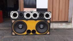 Caixa com 2 auto falante rex 12 400 rms + corneteira com as bocas +tweeter