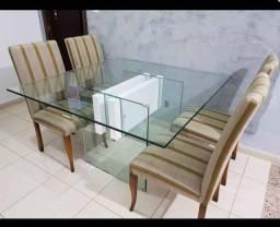 Vendo mesa de vidro tampo 10mm + 4 cadeiras