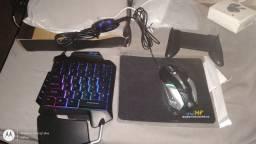 Johf conjunto de teclado mouse receptor bluetooth e suporte para Celular