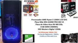 PC Gamer Amd Ryzen 3 1300X 8Gb Ssd 120Gb RX 460 2Gb + Brindes !!!