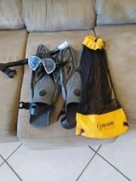 Pé De Pato Aberto Ajustavel- Tropic Fun Dive +kit de mergulho máscara e snorkel Seasub