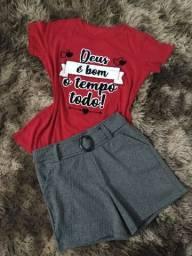 Vendo t-shirt e short canelado