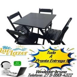 Jogo 1 mesa com 4 cadeira dobravel de madeira 70x70