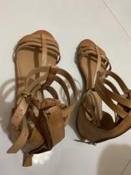 Sandália Gladiadora rasteira couro legítimo