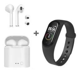 Relógio Inteligente M5 + Fone de Ouvido Sem Fio Bluetooth i7s