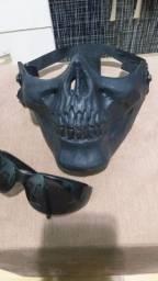 Máscara Caveira Tática + Óculos de proteção de brinde