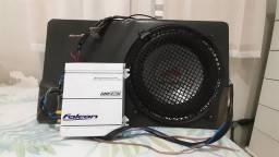 Potência E caixa de som