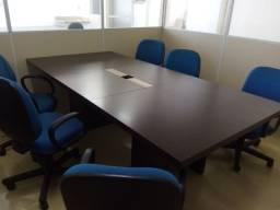 Mesa e Cadeiras de reunião luxo na cor tabaco 2,50m x 1,20m