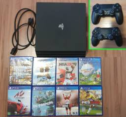 Playstation Ps4 Pro com dois controles, hd de 1 tb e oito jogos