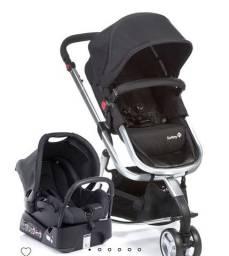 Carrinho mobi safety cinza + bebê conforto