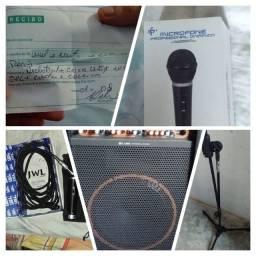 Caixa de som amplificada +microfone +pedestal