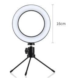 Ring light iluminador selfie makeup + tripé luz 16cm + Clipe para celular