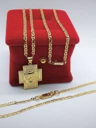 Corrente Piastrine banhada ouro pingente leão de Judá + pulseira