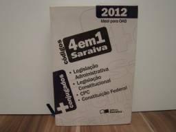 Livro Códigos 4 Em 1 Saraiva 2012 Ideal para OAB