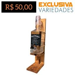 Pingômetro 1L Garrafa Vidro Jack Daniels + Copo