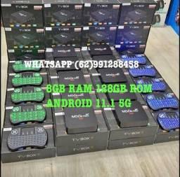 TV BOX 128GB RAM + TECLADO MOUSE NOVO