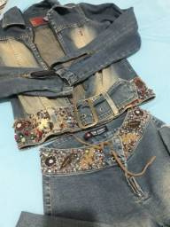 Conjunto jeans bordado a mão