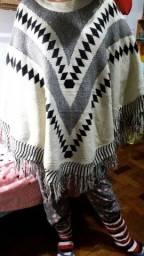 Poncho de tricot tamanho único
