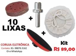Kit Polimento 10 Lixas com Pluma + Suporte + Boina p/ Lixadeira